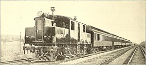 New York Central S-Motor - Unit 6000 hauling a train with various railway officials, 1904