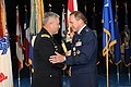 The Vice Chief of Staff of the U.S. Army Gen. John F. Campbell, left, shakes the hand of Air Force Maj. Gen. Timothy A. Byers, right, the Civil Engineer, Headquarters U.S. Air Force, during Byers' retirement 130621-A-WP504-094.jpg