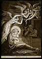 The birth of Christ; female angels swoon through the air; Jo Wellcome V0034607.jpg