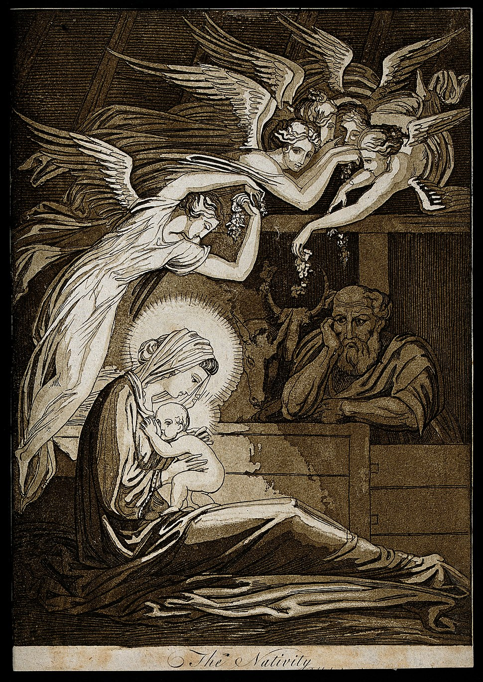 The birth of Christ; female angels swoon through the air; Jo Wellcome V0034607