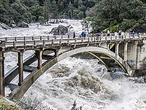 South Yuba River - High water in the South Yuba River at the old CA-49 bridge, 8 January 2017