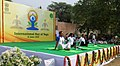 The participants in the mass performance of Common Yoga Protocol, on the occasion of the 4th International Day of Yoga -2018, at Talkatora Garden, in New Delhi on June 21, 2018.JPG