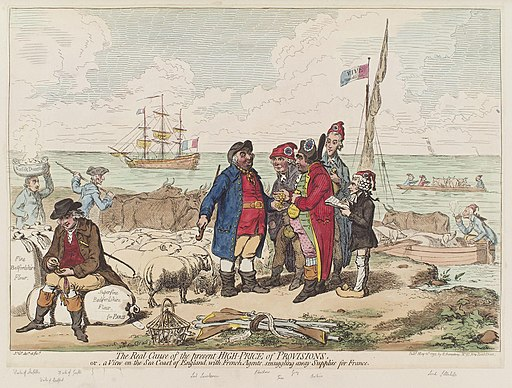 The real cause of the present high price of provisions, or, a view on the sea coast of England, with French agents, smuggling away supplies for France by James Gillray