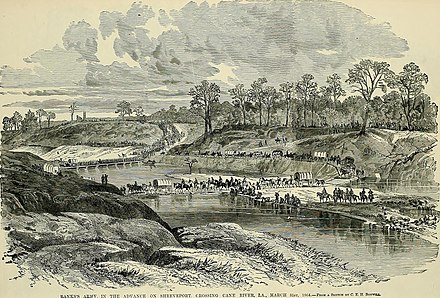 Banks's army crossing the Cane River, March 31, 1864 The soldier in our Civil War - a pictorial history of the conflict, 1861-1865, illustrating the valor of the soldier as displayed on the battle-field, from sketches drawn by Forbes, Waud, Taylor, (14576521457).jpg