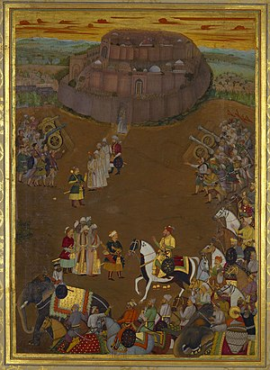 Padshahnama - Image: The surrender of the Fort at Udgir to Khan Dawran (October 1636)