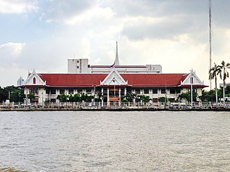 Thonburi - Three Thai-style pavilions adjacent to each other beside Wat Prayurawongsawat rim Chao Phraya River (opposite Yodpiman River Walk),  which is now head office of City Law Enforcement Department, BMA, formerly the Thonburi City Hall)
