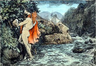 Gjálp and Greip - Thor's Journey to Geirrodsgard by Lorenz Frølich