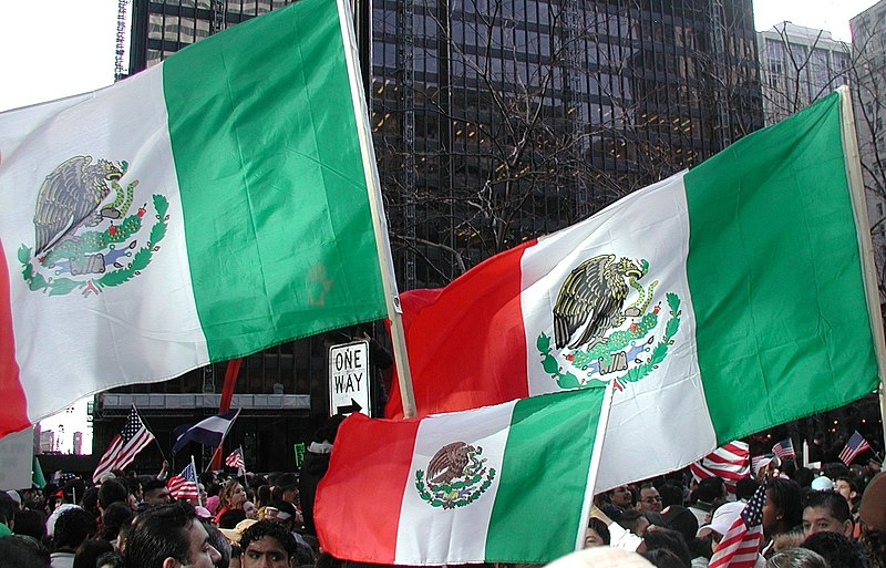 Three Mexican Flags in a Stiff Breeze