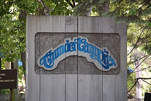 Thunder Canyon - Sign for the ride at Cedar Point