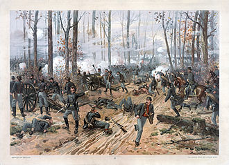 Turning point of the American Civil War - Confederates launch a surprise early morning attack on the Union encampment on the first day of the Battle of Shiloh