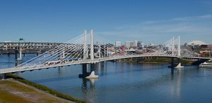 Tilikum Crossing - The bridge in 2016 with a MAX light rail train crossing it
