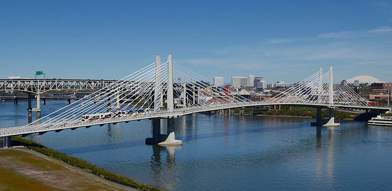 File:Tilikum Crossing from Ross Island Bridge with MAX.jpg