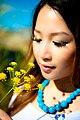 Tina Liang asian model smells the fennel.jpg
