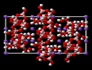 Tincalconite - Image: Tincalconite unit cell 3D balls
