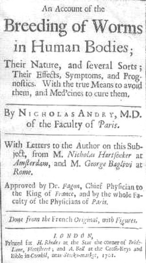Nicolas Andry - Title page of the English translation of Andry's Breeding of Worms