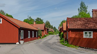 Falu red - Traditional Swedish houses in Tobo, Sweden, painted with falu red paint.