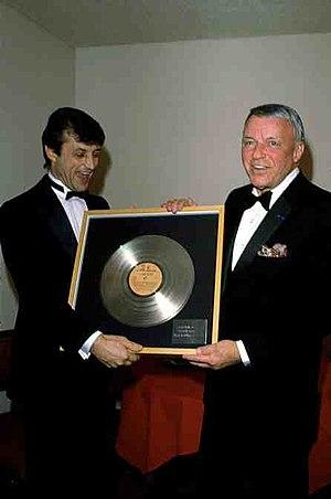 Tony Renis - Tony Renis and Frank Sinatra celebrating a Gold record in 1985.