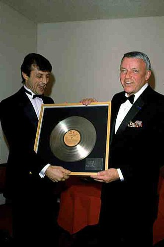 Tony Renis - Tony Renis and Frank Sinatra celebrating a Gold record in 1985.