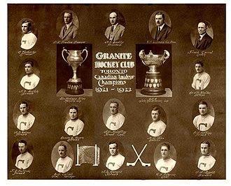 Toronto Granites - 1921–22 Toronto Granites. Top row, left to right: H. Westerby, D.T. Prentice, H.E. Beatty, W.J. Lumbers, F. Carroll. Second row: H.S. Smith, Dr. J.M. Sheldon. Third row: H.E. Watson, D.B. Munro, A.J. McCaffrey, H.J. Fox, D.J. Jeffrey. Bottom row: F.G. Sullivan, E.J. Collett, A.E. Romeril, R.F. Anderson, J.T. Aggett.