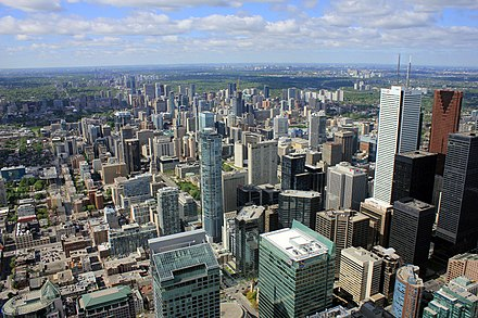 Toronto's Financial District serves as the centre for Canada's financial services. Toronto from cn tower.jpg