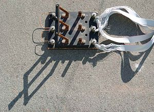 triple-pole single-throw (tpst or 3pst) knife switch used to short the  windings of a 3‑phase wind turbine for braking purposes  here the switch is  shown in