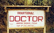 A traditional doctor advertises his services in Tatum, Northwest Province. Such healers are popular alternatives to conventionally trained doctors.