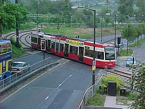 Gravel Hill tram stop - Tram crossing at Gravel Hill, 13 May 2000