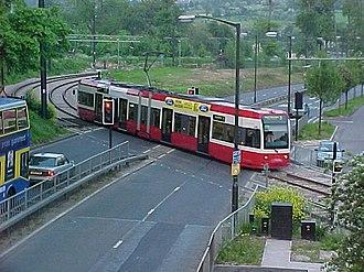 Gravel Hill tram stop - Tram crossing at Gravel Hill, 13 May 2000