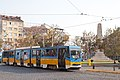 Tram in Sofia near Russian monument 072.jpg