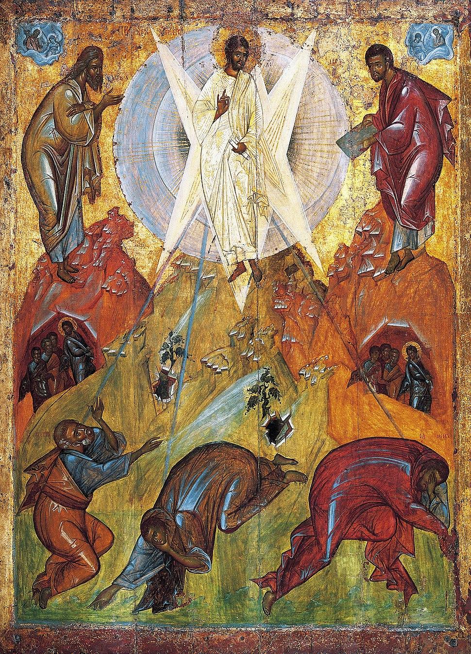 Transfiguration by Feofan Grek from Spaso-Preobrazhensky Cathedral in Pereslavl-Zalessky (15th c, Tretyakov gallery).jpeg