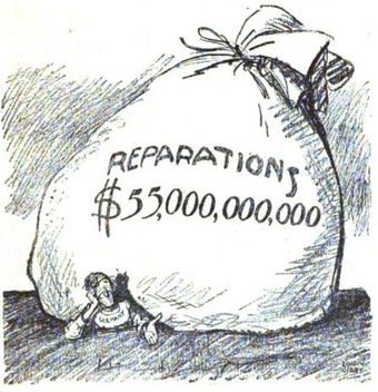 American contemporary view of German World War I reparations. Political cartoon 1921. Treaty of Versailles Reparations -- Let's see you collect.png