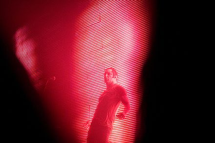 Reznor during a concert in Victoria, Canada, on the Lights in the Sky tour Trent Reznor, Victoria, BC.jpg