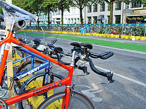 Transition area (bicycles) of Hamburg Triathlo...