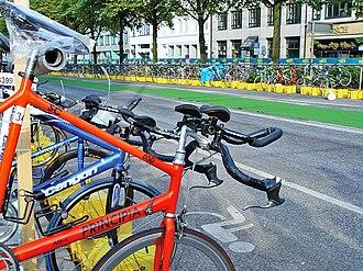 Triathlon - Transition area (bicycles) of Hamburg Triathlon, 2002