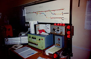 Signalling control - Trimley Junction IFS panel in the 1988 replacement signal box; built by BREL York