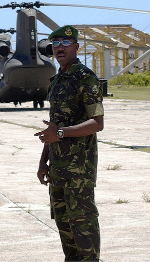 Trinidad and Tobago Regiment - Captain (Capt) Roger McLean with the Trinidad and Tobago Defense Force, at the V.C. Bird International Airport, on the island of Antigua in 2002.