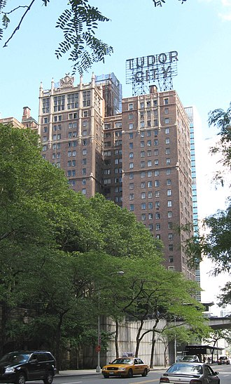 "Tudor City - Western side, with ""TUDOR CITY"" sign"
