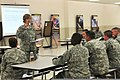 U.S. Army Col. Sandra Raveling, support operations assistant chief of staff with the 451st Sustainment Command, stops to answer a question from a 451st Soldier during a training exercise at the Lanny J. Wallace 130608-A-DS122-062-CC.jpg