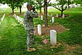 U.S. Army Spc. Brock Bowers, an infantryman with the Honor Guard Company, 3rd U.S. Infantry Regiment (The Old Guard), renders honors to Medal of Honor recipient Sgt. Dwight H. Johnson after placing a flag on his 130523-A-KF670-002.jpg