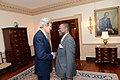 U.S. Secretary of State John Kerry shakes hands with Nigerian Foreign Minister Olugbenga Ashiru before their bilateral meeting at the U.S. Department of State in Washington, D.C., on April 25, 2013.jpg