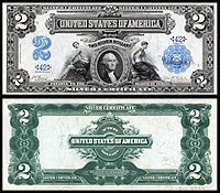 $2 Silver Certificate, Series 1899, Fr.249, depicting George Washington