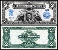 Certificado de Prata de $ 2, Série 1899, Fr.249, representando George Washington