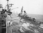 USS Franklin D. Roosevelt (CVA-42) refuels USS Charles F. Adams (DDG-2) in 1970.jpg