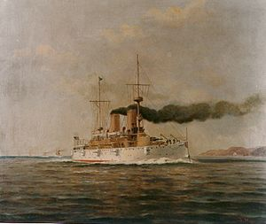 USS Olympia (C-6) - Olympia leading a column of cruisers, painting by Francis Muller.