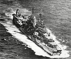 USS Pittsburgh (CA-72) - USS Pittsburgh after the typhoon, with her bow section missing.