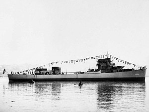 USS Rall (DE-304) after launch at the Mare Island Naval Shipyard on 23 September 1943