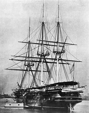USS Wabash (1855) - USS Wabash as a receiving ship; she is still fully rigged although her sails have been removed.