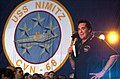 US Navy 030619-N-9319H-005 Actor-Entertainer Wayne Newton performs on stage during a United Services Organization (USO) show aboard USS Nimitz (CVN 68).jpg