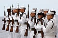 US Navy 040530-N-9183C-003 The ship's Ceremonial Rifle Guard present arms during a Burials at Sea ceremony held aboard USS Ronald Reagan (CVN 76).jpg