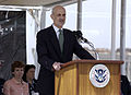 US Navy 050329-C-3550N-049 Secretary of Homeland Security Michael Chertoff speaks at a keel-laying ceremony for the U.S. Coast Guard's first National Security Cutter (WMSL 750).jpg